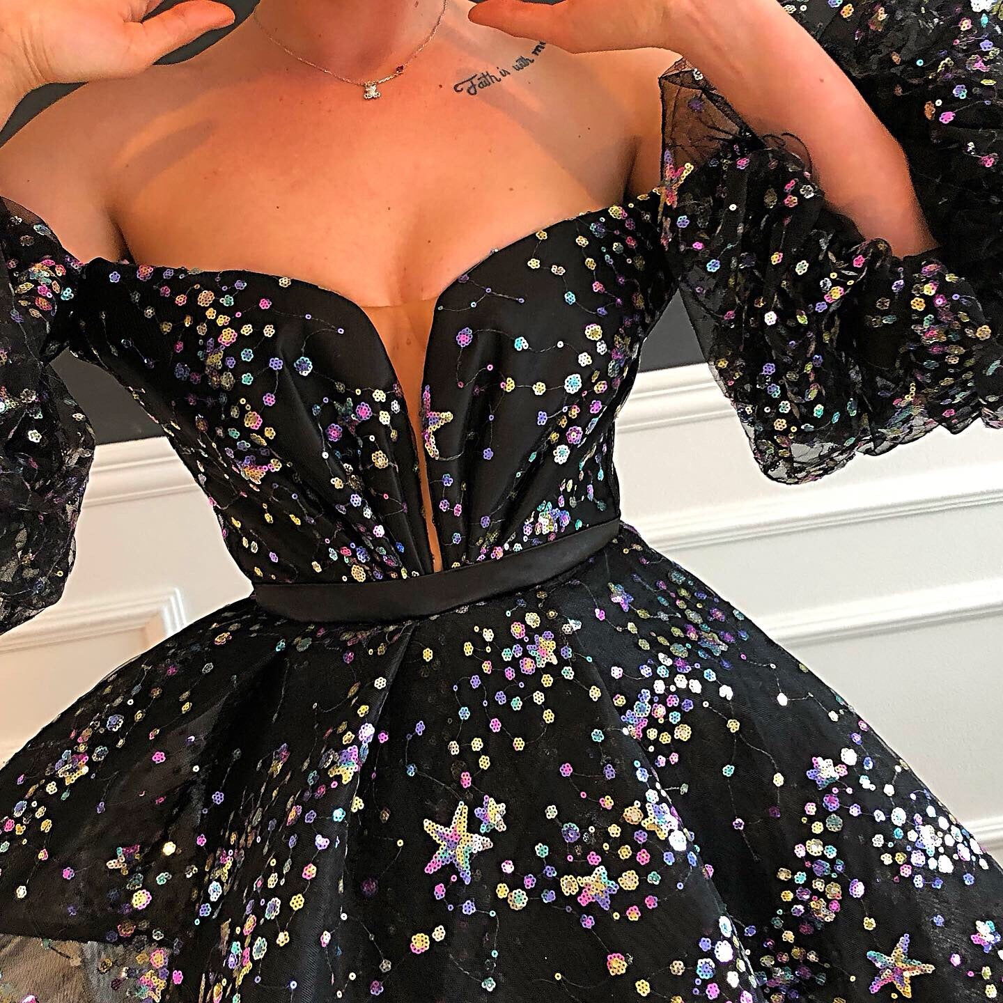 Galaxy Black Tulle Sparkles Gown