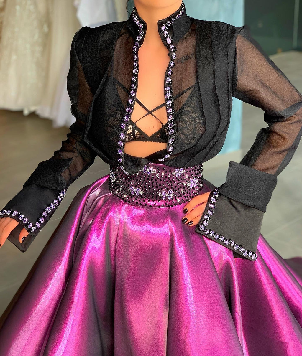 Purple & Black T-shirt & Gown Skirt Organza & Brocade