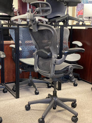 Herman Miller Aeron - Black/Black - Fully Loaded w/ Headrest - High Performance Cylinder - Certified Pre-Owned - Perfect Condition! - Size: B