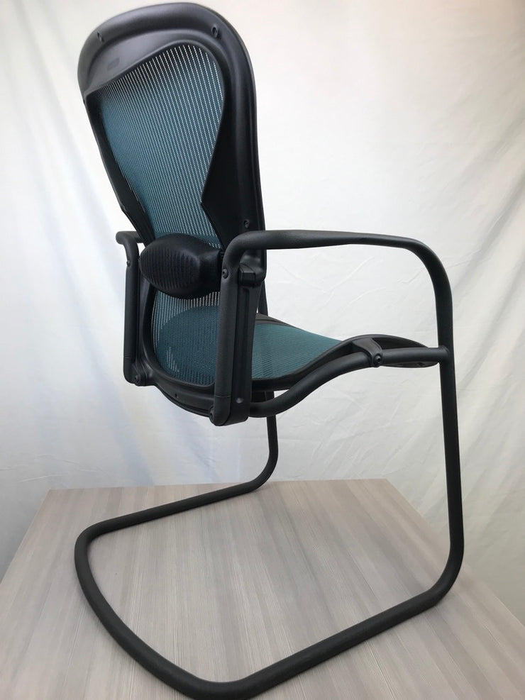 Herman Miller Aeron Side Chair w/ Adjustable Lumber Support - Jade Mesh - Certified Pre-Owned - Joe's Discount Office Furniture