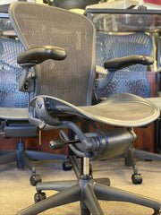 Herman Miller Aeron - Lead on Black - Fully Loaded w/o Forward Tilt - Certified Pre-Owned - Perfect Condition! - Size: B