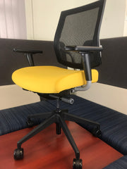 SitOnIt Seating - Mid Back Focus Task Chair - Black on Lemon on Silver - Brand New Open Box