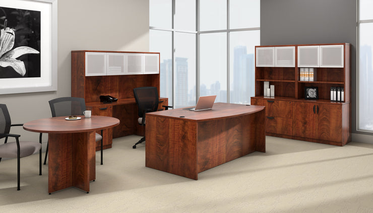 Bow Front Desk with Left Corner Extension - SL7148BCL-ADC - Joe's Discount Office Furniture