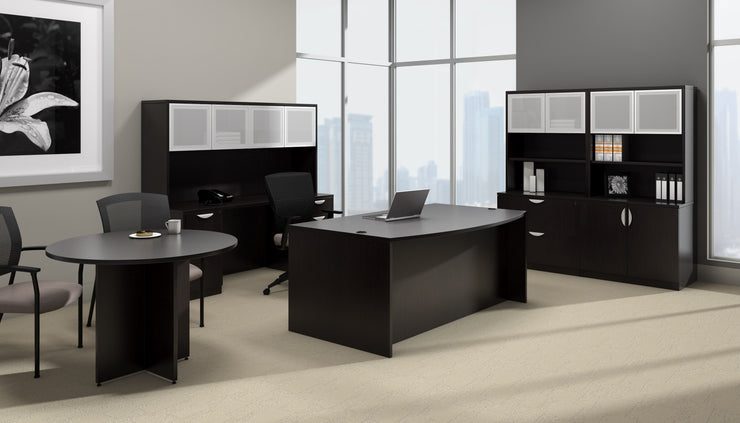 Bow Front Desk with Left Corner Extension - SL7148BCL-AEL - Joe's Discount Office Furniture