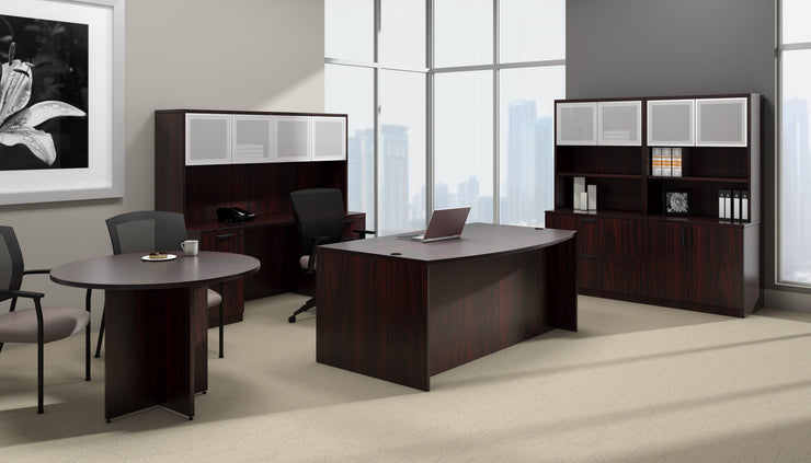 Bow Front Desk with Left Corner Extension - SL7148BCL-AML - Joe's Discount Office Furniture