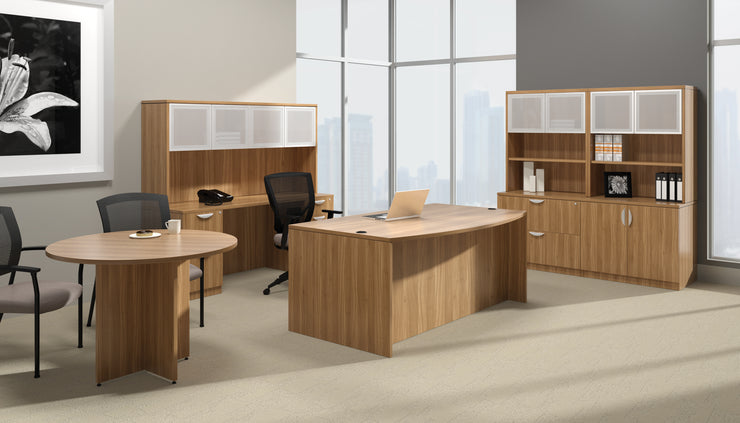 Bow Front Desk with Left Corner Extension - SL7148BCL-AWL - Joe's Discount Office Furniture
