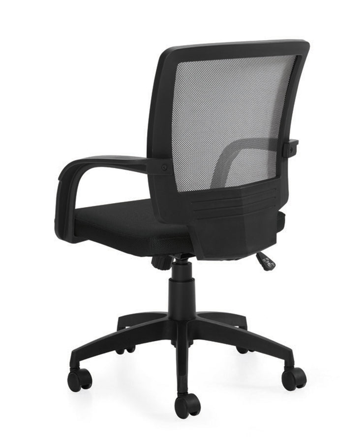 Mesh Back Managers Chair - OTG10900B - Angled Back View - Joe's Discount Office Furniture