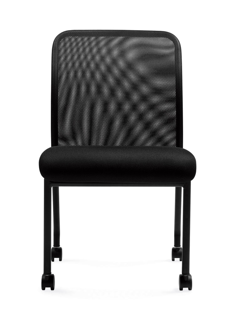 Armless Mesh Back Guest Chair with Castors - OTG11761B - Front View - Joe's Discount Office Furniture