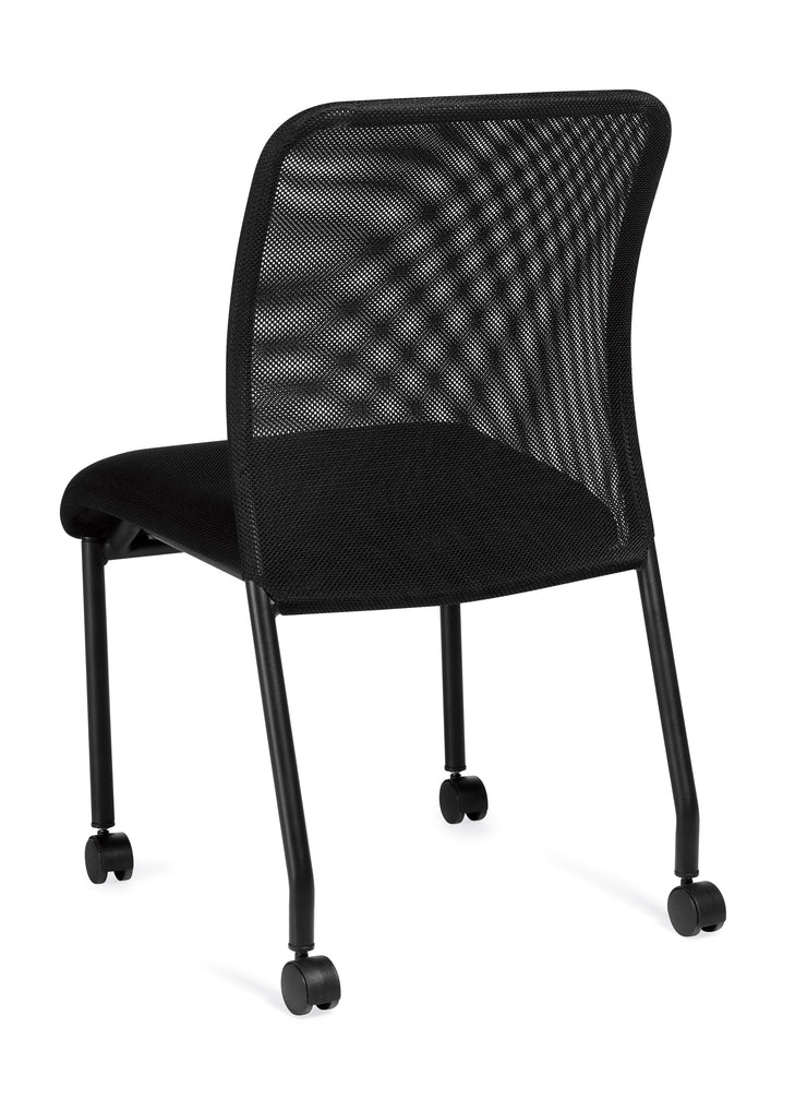 Armless Mesh Back Guest Chair with Castors - OTG11761B - Angled Back View - Joe's Discount Office Furniture
