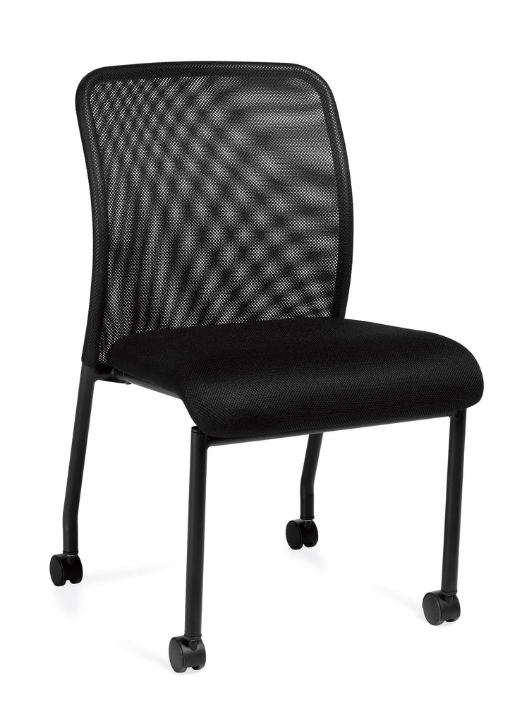 Armless Mesh Back Guest Chair with Castors - OTG11761B - Angled View - Joe's Discount Office Furniture