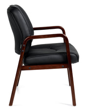 Luxhide Guest Chair with Cordovan Wood Accents - JD11770BCX - Joe's Discount Office Furniture