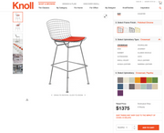 Set of 5 - Knoll Bertoia Bar Stools (427C - Counter Height) w/ Crossroad Paprika Seat Pad Upholstery - Brand New - Joe's Discount Office Furniture