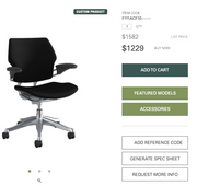 Humanscale Freedom Task Chair - Polished Aluminum Frame - Black Upholstery - Brand New In Box