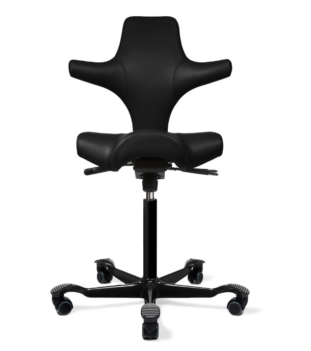 HÅG Capisco Chair - Black Paloma Leather Flat Seat & Back (Brand New - In Box) - Joe's Discount Office Furniture