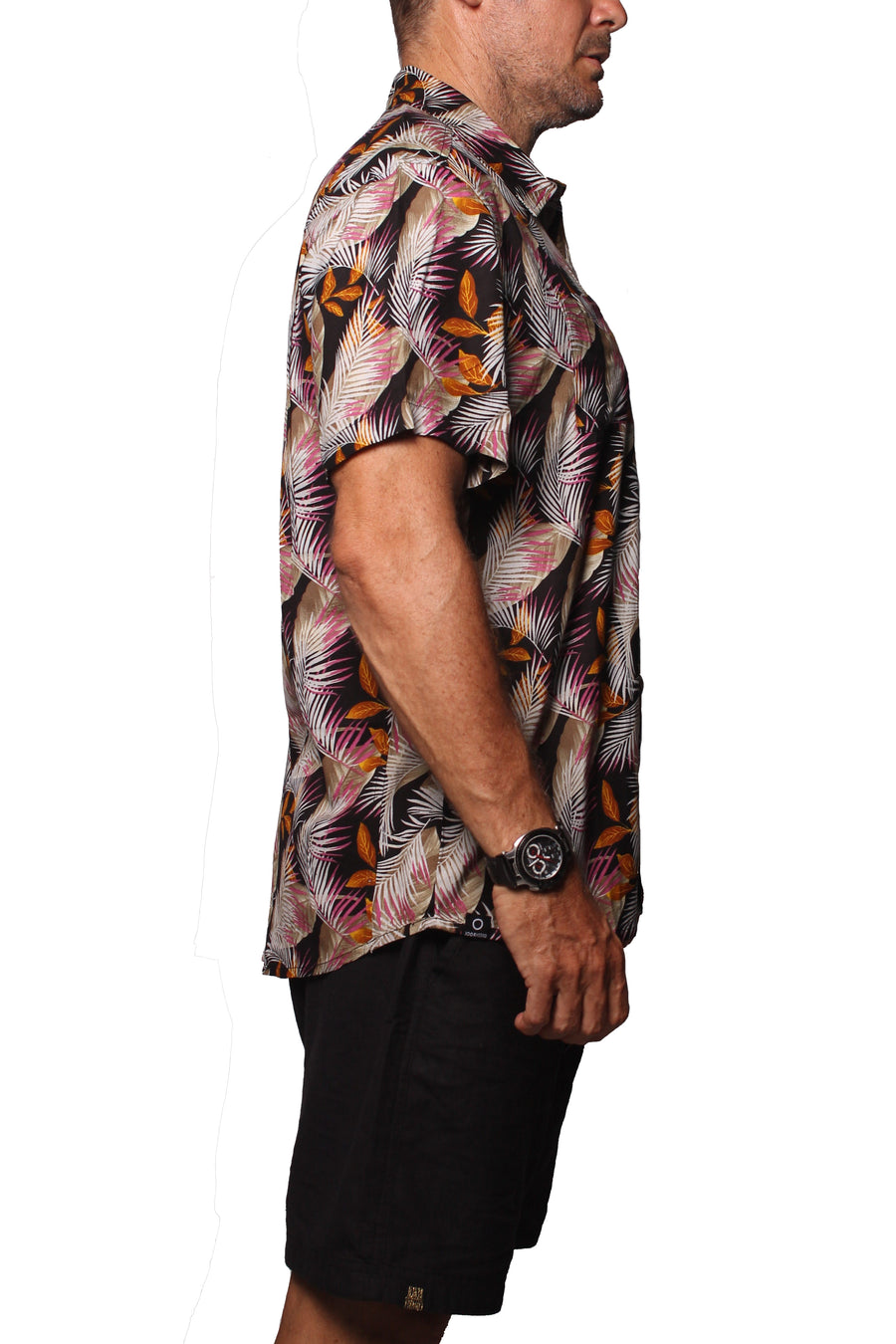 Shirt ST Rayon Palm Leaves Black - Greenrock Indonesia