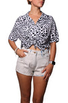 Rain Crop Shirt Big Leopard White Black - Greenrock Indonesia