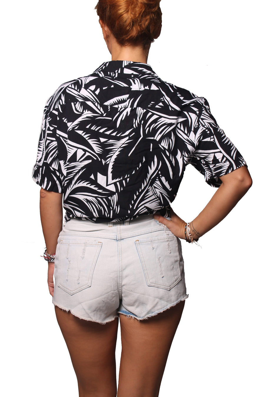 Rain Crop Shirt Daun Black White
