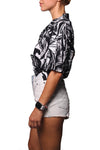 Rain Crop Shirt Daun Black White - Greenrock Indonesia
