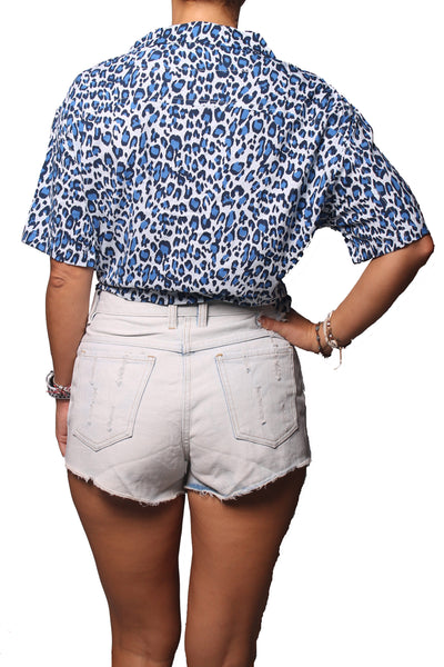 Rain Crop Shirt Leopard Blue - Greenrock Indonesia