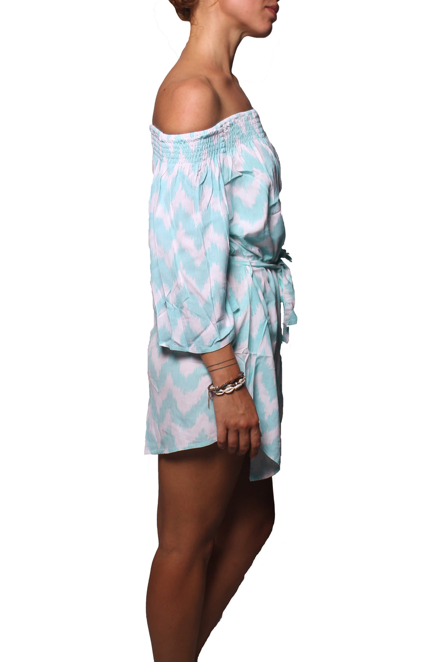 Off Shoulder Dress Zigzag Blue