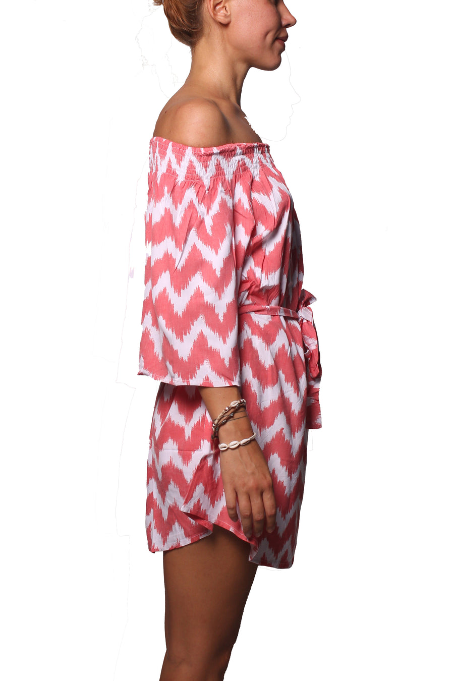 Off Shoulder Dress Zigzag Pink