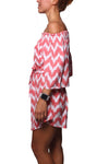 Off Shoulder Dress Zigzag Pink - Greenrock Indonesia