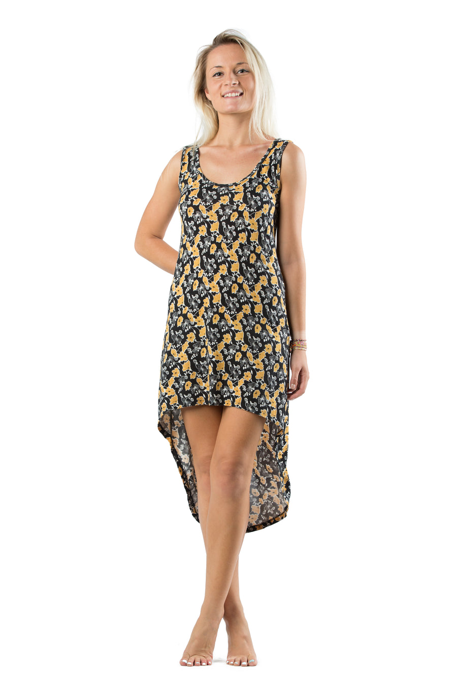 Singlet Dress Butterfly Black Mustard