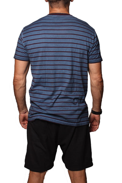 T-Shirt MF Stripe PD Indigo Maroon