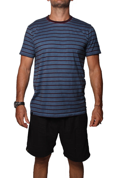 T-Shirt Stripe PD Indigo Maroon - Greenrock Indonesia