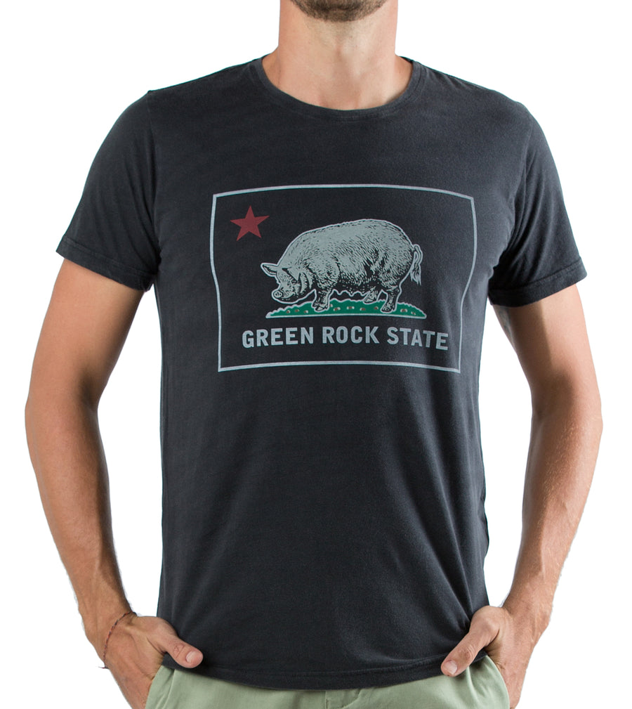 T-SHIRT GREEN ROCK STATE BLK WSH