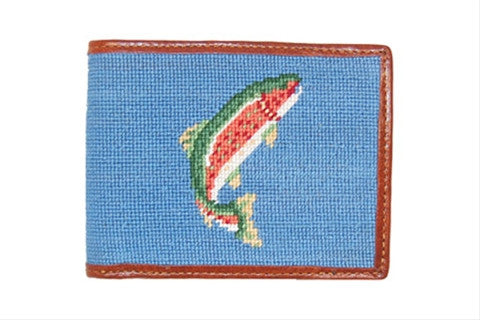 Trout and Fly (Blue) Needlepoint Wallet