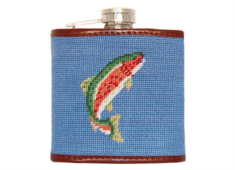 Trout and Fly (Blue) Needlepoint Flask
