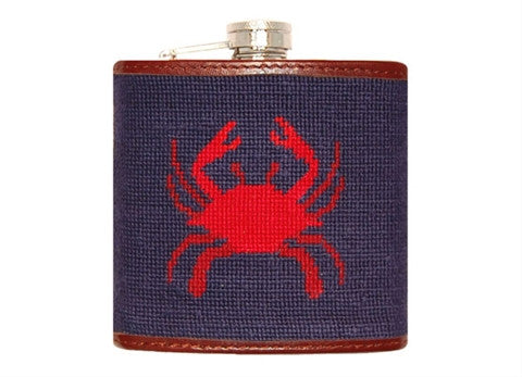 Crab Needlepoint Flask by Smathers & Branson