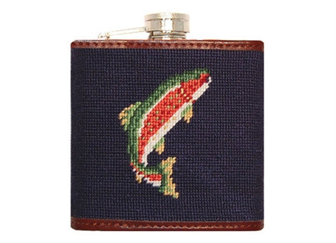 Trout and Fly (Navy) Needlepoint Flask