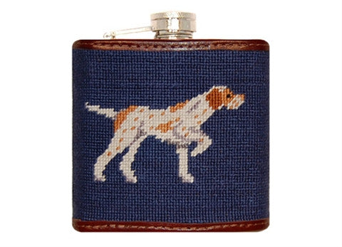 Pointer Needlepoint Flask