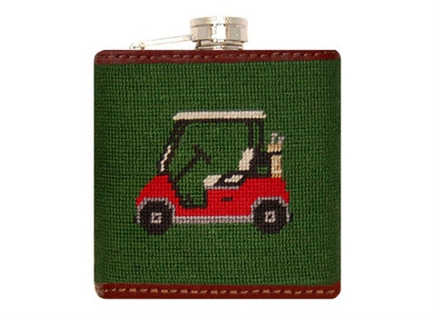 Golf Cart Needlepoint Flask