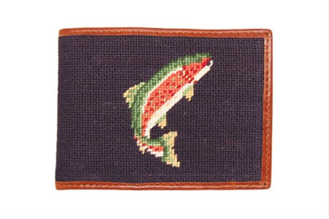 Trout and Fly (Navy) Needlepoint Wallet