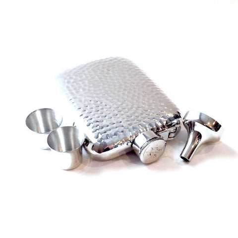 EDG 6oz Captive Top Hammered Pewter Hip Flask
