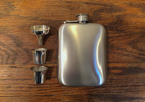 EDG Vintage Workman's 6oz Pewter Hip Flask w/ Funnel