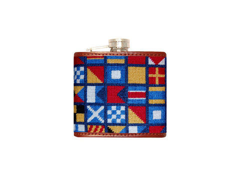Nautical Alphabet Needlepoint Flask