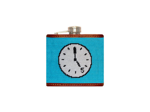 5 O'Clock Here Needlepoint Flask