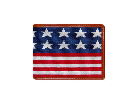 Old Glory Needlepoint Bi-Fold Wallet
