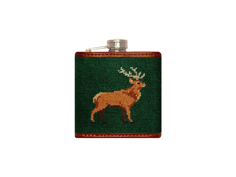 Stag Needlepoint Flask