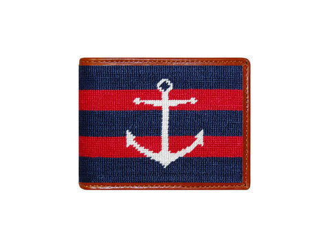 Striped Anchor Needlepoint Wallet