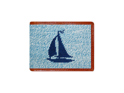 Heathered Sailboat Needlepoint Wallet