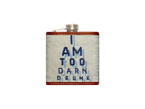 Eye Chart Needlepoint Flask