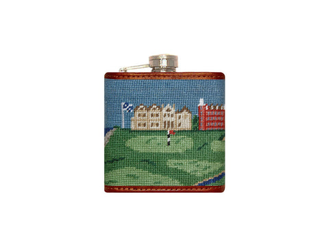 Old Course Scene Needlepoint Flask