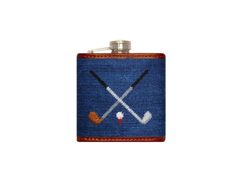 Crossed Clubs Needlepoint Flask