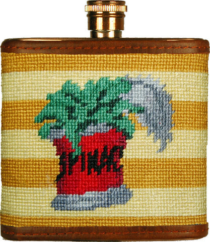 Can of Spinach Needlepoint Flask