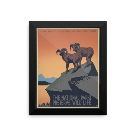 "WPA National Parks ""Big Horn"" Framed Poster"